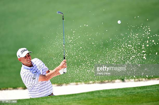 Bill Haas of the United States plays a shot from a bunker on the second hole during the first round of the 2016 Masters Tournament at Augusta...