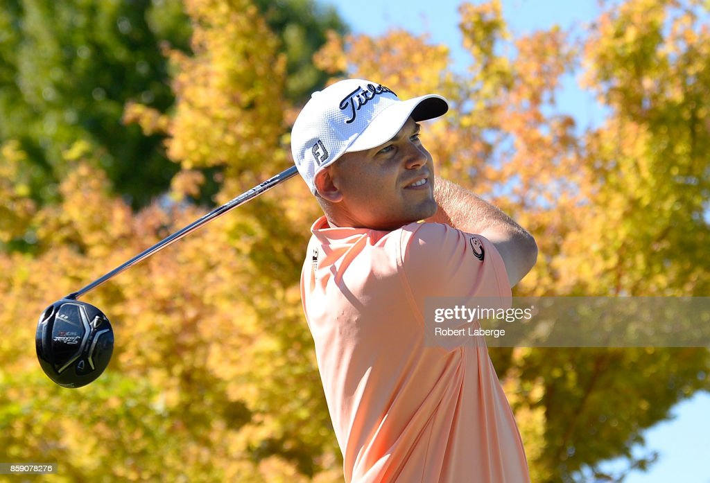 Bill Haas plays his shot from the first tee during the final round of the Safeway Open at the North Course of the Silverado Resort and Spa on October 8, 2017 in Napa, California.