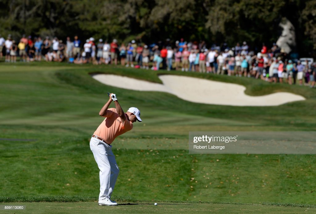 Bill Haas plays his shot from the second tee during the final round of the Safeway Open at the North Course of the Silverado Resort and Spa on October 8, 2017 in Napa, California.