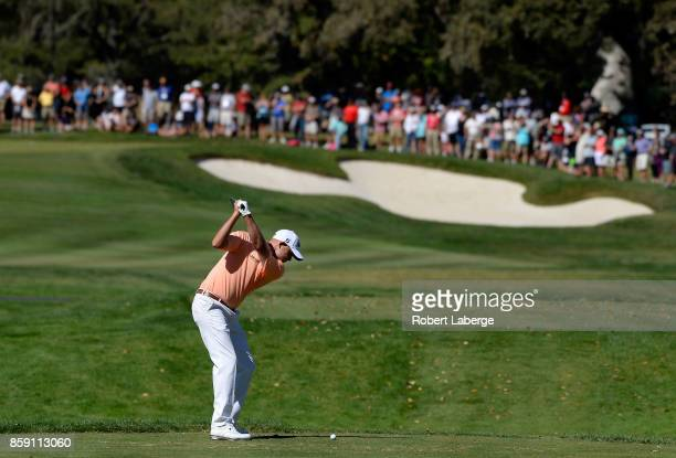 Bill Haas plays his shot from the second tee during the final round of the Safeway Open at the North Course of the Silverado Resort and Spa on...