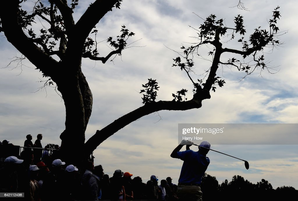 Bill Haas plays his shot from the third tee during the first round at the Genesis Open at Riviera Country Club on February 16, 2017 in Pacific Palisades, California.