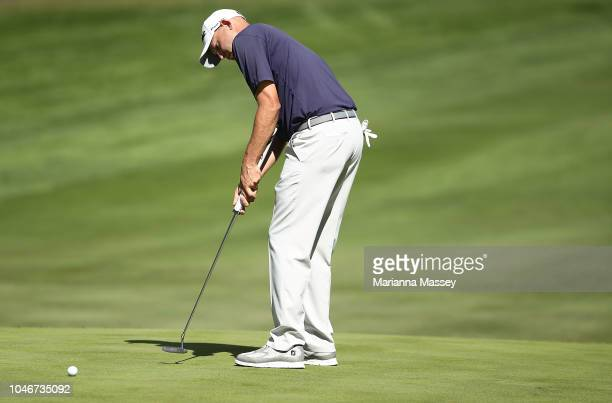 Bill Haas putts on the sixth green during the third round of the Safeway Open at the North Course of the Silverado Resort and Spaon October 6 2018 in...