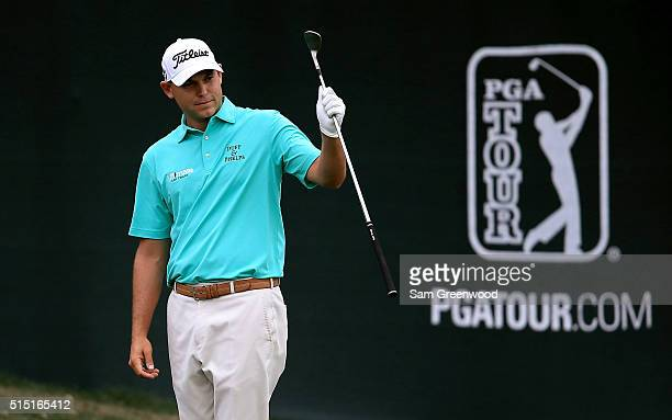 Bill Haas reacts as he chips in for birdie on the 15th hole during the third round of the Valspar Championship at Innisbrook Resort Copperhead Course...