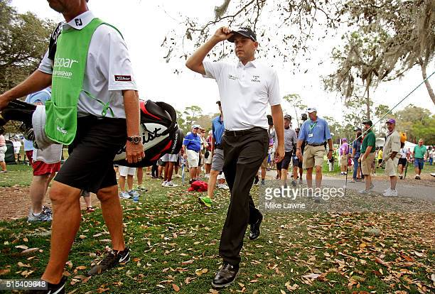 Bill Haas walks to the fifth tee during the final round of the Valspar Championship at Innisbrook Resort Copperhead Course on March 13 2016 in Palm...