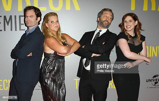 Bill Hader Amy Schumer Judd Apatow and Vanessa Bayer attend a screening of 'Trainwreck' at Savoy Cinema on August 14 2015 in Dublin Ireland