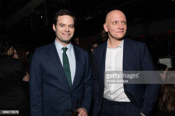 Bill Hader and Anthony Carrigan attend the after party for the premiere of HBO's 'Barry' at NeueHouse Hollywood on March 21 2018 in Los Angeles...