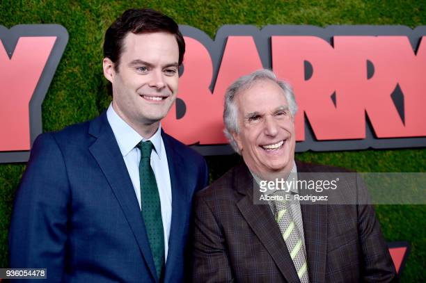 Bill Hader and Henry Winkler attend the premiere of HBO's Barry at NeueHouse Hollywood on March 21 2018 in Los Angeles California