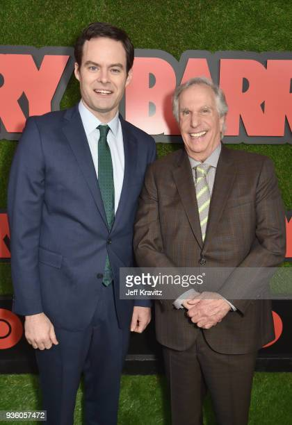 Bill Hader and Henry Winkler attend the premiere of HBO's 'Barry' at NeueHouse Los Angeles on March 21 2018 in Hollywood California