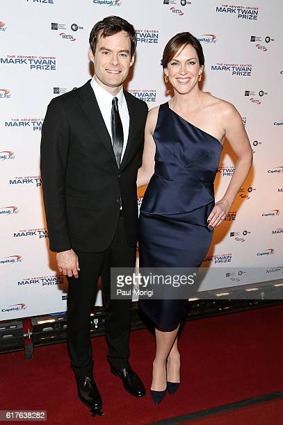 Bill Hader and Maggie Carey arrive to The Kennedy Center Mark Twain Prize Honors Bill Murray event at The Kennedy Center on October 23 2016 in...