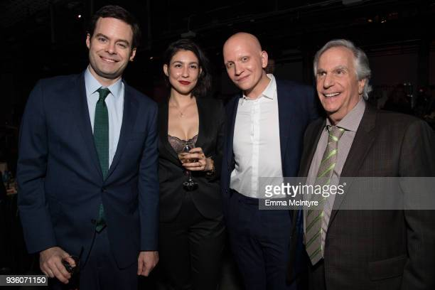 Bill Hader Anthony Carrigan and Henry Winkler attend the after party for the premiere of HBO's 'Barry' at NeueHouse Hollywood on March 21 2018 in Los...