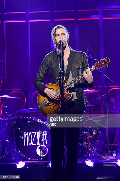 LIVE Bill Hader Episode 1665 Pictured Musical guest Hozier performs on October 11 2014