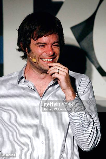 Bill Hader laughs while performing a skit during the Sketch Show at the 2008 Just For Laughs Comedy Festival on July 16 2008 in Montreal Canada