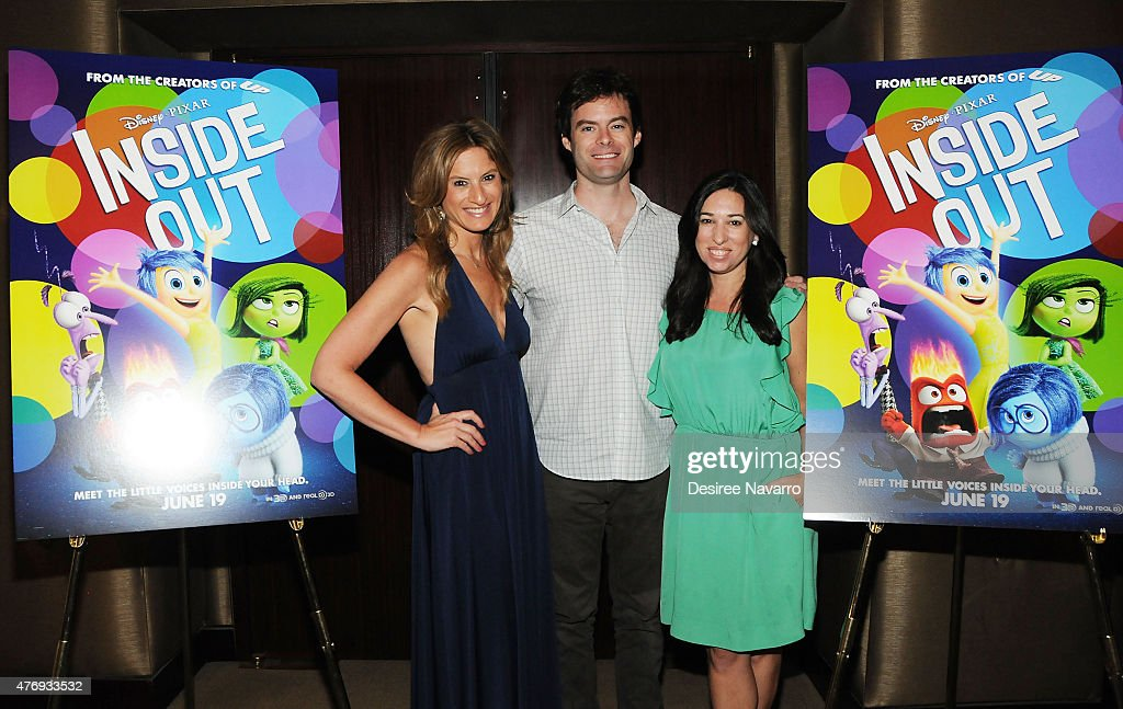 Bill Hader (C) poses with The Moms, Denise Albert (L) and Melissa Musen Gerstein at The Moms 'Inside Out' Mamazzi Event With Bill Hader at Dolby Screening Room on June 12, 2015 in New York City.