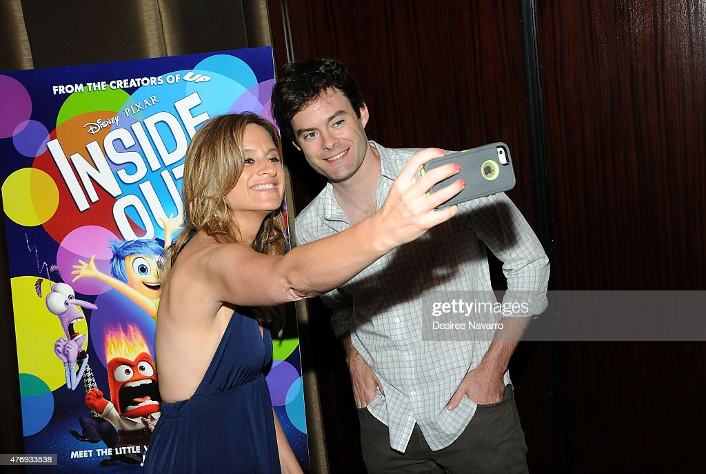 Bill Hader poses with The Moms, Denise Albert at The Moms 'Inside Out' Mamazzi Event with Bill Hader at Dolby Screening Room on June 12, 2015 in New York City.