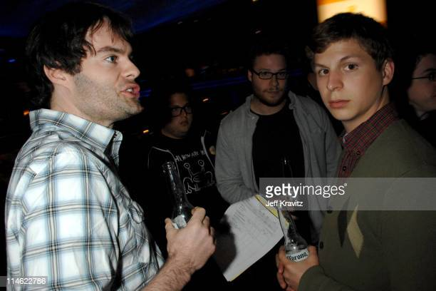 Bill Hader Seth Rogen and Michael Cera during First Annual Spike TV's Guys Choice Backstage and Audience at Radford Studios in Los Angeles California...