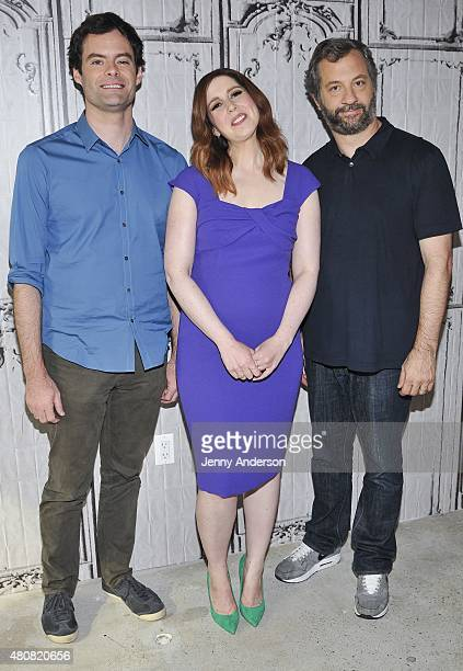 """Bill Hader, Vanessa Bayer and Judd Apatow attend AOL BUILD Speaker Series to discuss their new film """"Trainwreck"""" at AOL Studios in New York on July..."""