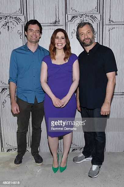 Bill Hader Vanessa Bayer and Judd Apatow discuss their comedy 'Trainwreck' at AOL BUILD speaker Series 'Trainwreck' at AOL Studios In New York on...