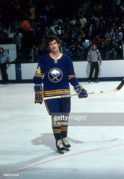 Bill Hajt of the Buffalo Sabres skates on the ice during an NHL game against the California Golden Seals circa 1976 at the Oakland Coliseum in...