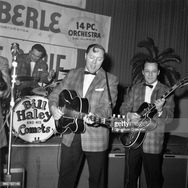 Bill Haley and his Comets perform onstage in 1955 in New York New York