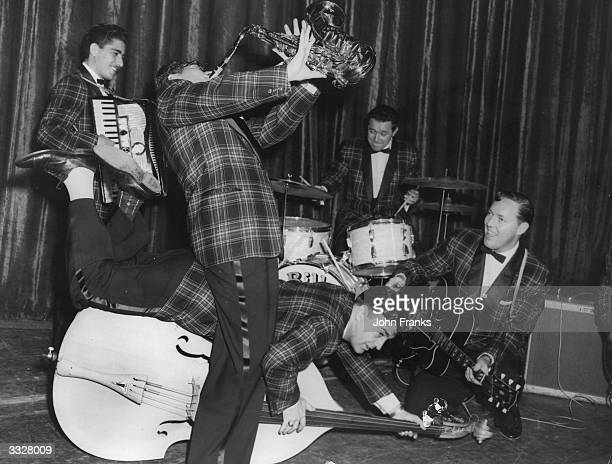 Bill Haley and his Comets rehearsing at the Dominion Theatre Tottenham Court Road London for their first British show