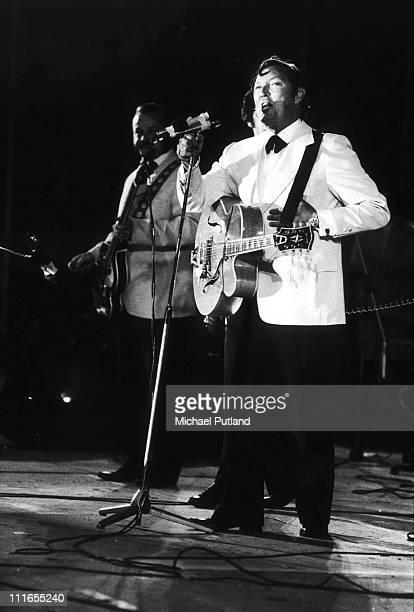 Bill Haley performs on stage at London Rock'n Roll show Wembley London 5th August 1972