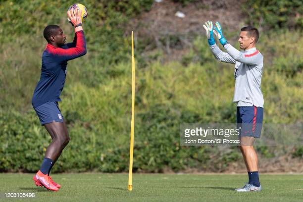 Bill Hamid and Goalkeeper Coach Aron Hyde of the United States warms up during a drill at Dignity Health Sports Park on January 30 2020 in Carson...