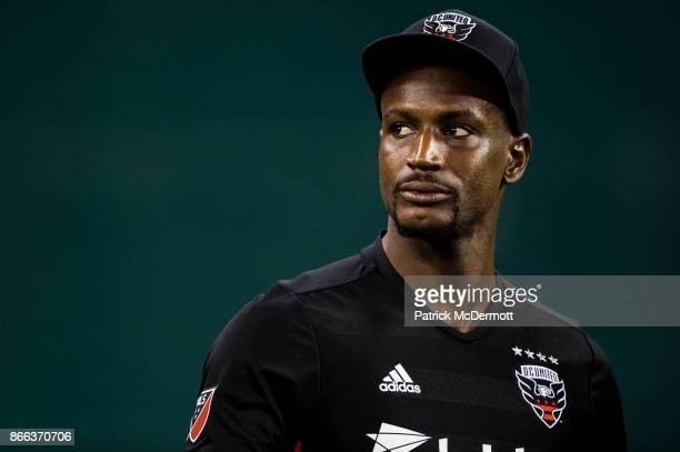 Bill Hamid of DC United looks on after the New York Red Bulls defeated DC United 21 during the final MLS game at RFK Stadium on October 22 2017 in...