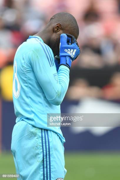 Bill Hamid of DC United looks on during a MLS Soccer game against the Chicago Fire at RFK Stadium on May 20 2017 in Washington DC The Fire won 10