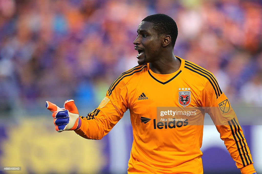 Bill Hamid #28 of D.C. United yells instructions to his team during a MLS soccer match between DC United and the Orlando City SC at the Orlando Citrus Bowl on April 3, 2015 in Orlando, Florida.
