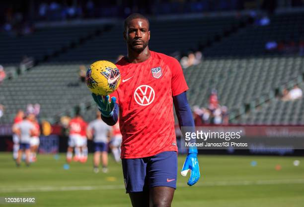 Bill Hamid of the United States warming up during a game between Costa Rica and United States at Dignity Health Sports Park on February 1 2020 in...