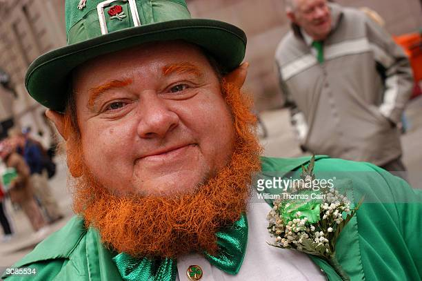 Bill Hare of Philadelphia Pennsylvania participates in the 53rd Annual St Patrick's Day Parade dressed as a leprechaun March 14 2004 in Philadelphia...
