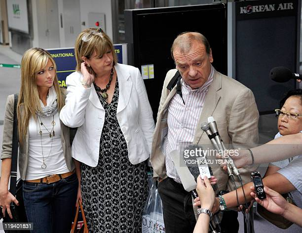 Bill Hawker father of slain 22yearold British female teacher Lindsay Ann Hawker accompanied by his wife Julia and daughter Lisa speaks to reporters...