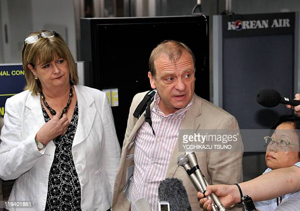 Bill Hawker , father of slain 22-year-old British female teacher Lindsay Ann Hawker, accompanied by his wife Julia speaks to reporters apon arrival...