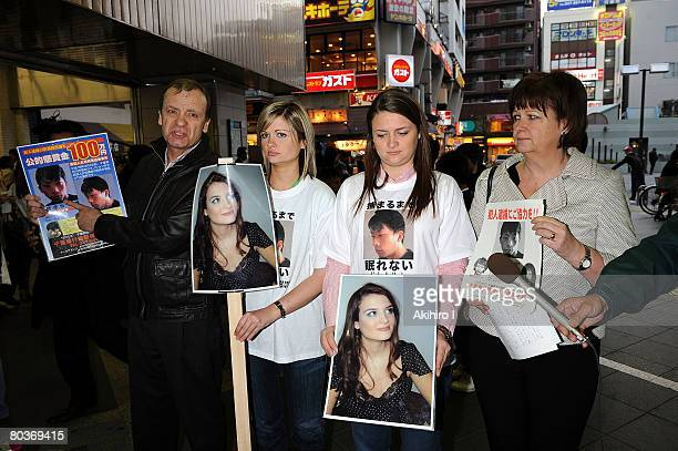 Bill HawkerJulia Hawker Lisa Hawker and Louise Hawker distribute flyers to commuters appealing for information on Tatsuya Ichihashi suspected of...