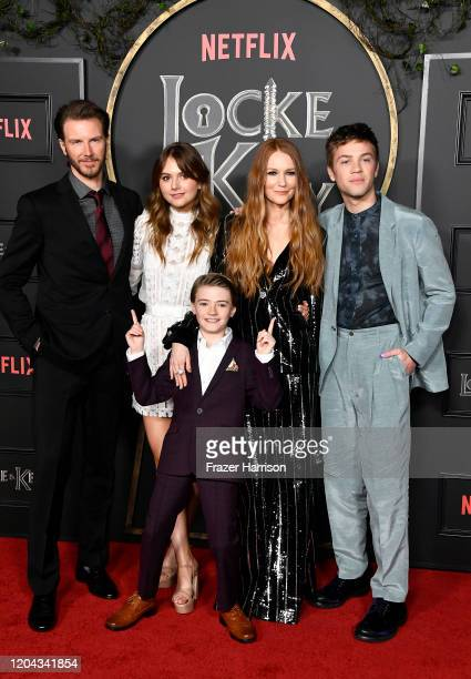Bill Heck Emilia Jones Jackson Robert Scott Darby Stanchfield and Connor Jessup attend Netflix's Locke Key series premiere photo call at the Egyptian...