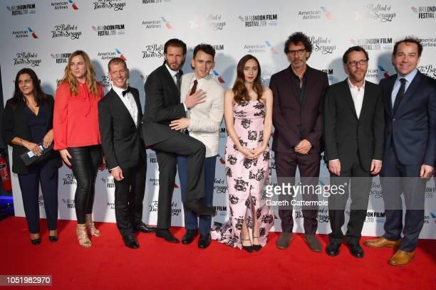 "Bill Heck , Harry Melling, Zoe Kazan, Joel Coen, Ethan Coen and Jon Jo O'Neil attends the UK Premiere of ""The Ballad of Buster Scruggs"" & the..."