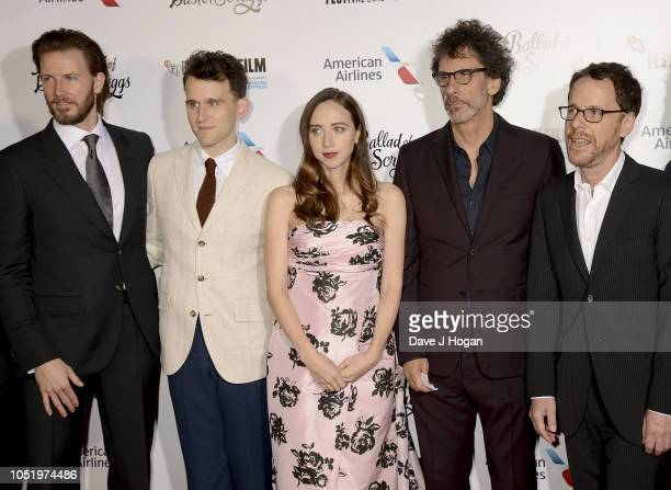 """Bill Heck, Harry Melling, Zoe Kazan, Joel Cohen and Ethan Cohen attend the UK Premiere of """"The Ballad of Buster Scruggs"""" & the American Airlines Gala..."""