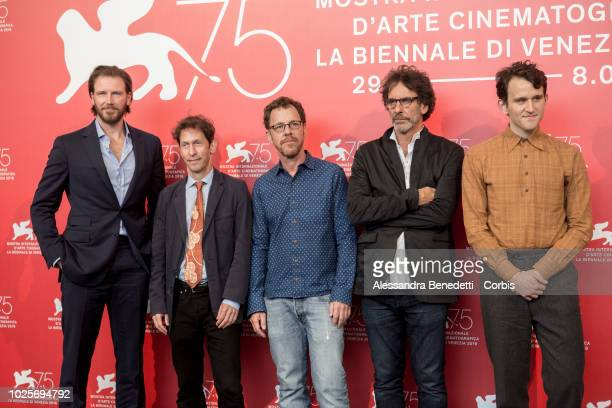 Bill Heck, Sue Naegle, Tim Blake Nelson, Ethan Coen, Joel Coen and Harry Melling attend 'The Ballad of Buster Scruggs' photocall during the 75th...