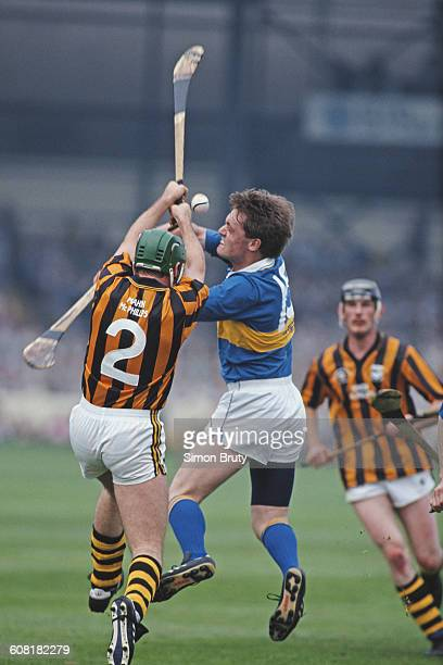 Bill Hennessy of Kilkenny and Nicky English of Tipperary in action during the All Ireland Senior Hurling Championship final on 1 Sep 1991 at Croke...