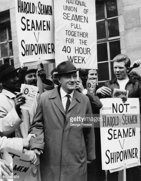 Bill Hogarth General Secretary of the National Union of Seamen arrives at the Ministry of Labour for talks with Labour Minister Ray Gunter in an...