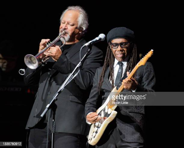 Bill Holloman and Nile Rodgers of Chic perform during Hampton Court Palace Festival 2021 at Hampton Court Palace on August 22, 2021 in London,...