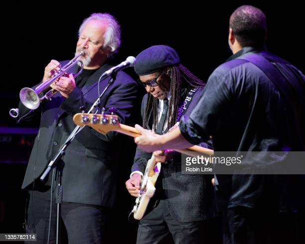 Bill Holloman, Nile Rodgers and Jerry Barnes of Chic perform during Hampton Court Palace Festival 2021 at Hampton Court Palace on August 22, 2021 in...