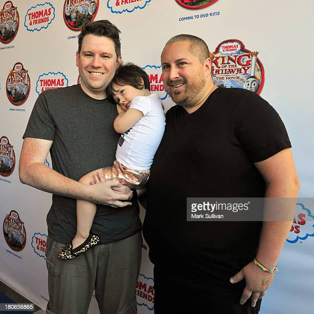 """Bill Horn, daughter Simone Lynne and Scout Masterson of The Guncles attend the """"Thomas & Friends: King of the Railway"""" blue carpet premiere at The..."""