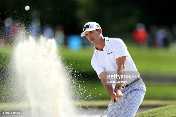 Bill Horschel of the United States plays his second shot on the par 3, 17th hole during the final round of the 2019 Arnold Palmer Invitational at the...