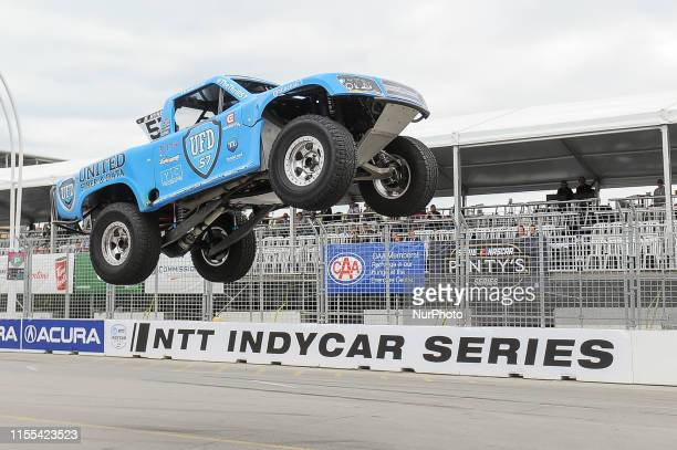 Bill Hynes from Nazareth, Pennsylvania USA on the race during the SPEED Energy Stadium SUPER Trucks race on July 12 the first day of the Honda Indy...
