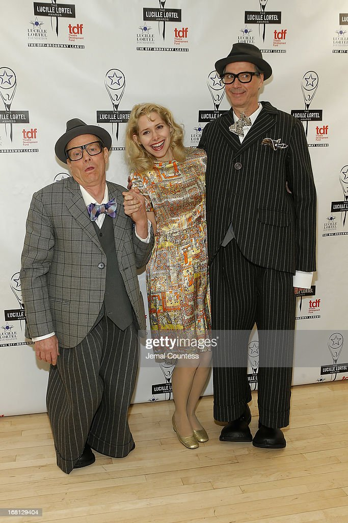 Bill Irwin, Nellie McKay and David Shiner pose backstage at the 28th Annual Lucille Lortel Awards on May 5, 2013 in New York City.