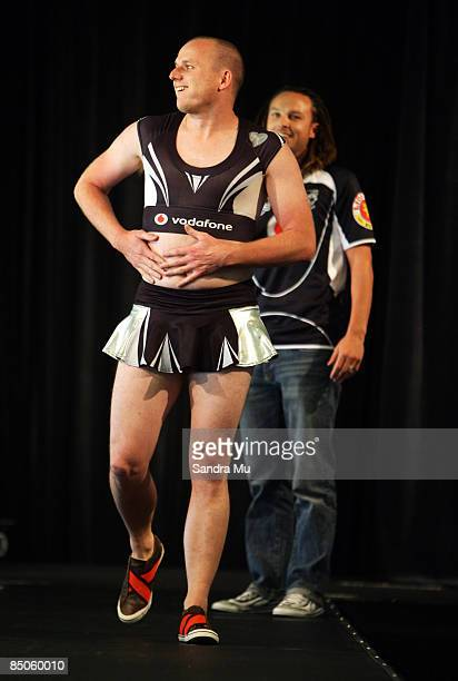 'Bill' Jamie Linehan of the comedy show Pulp Sport models the Warriors cheerleaders uniform as his colleague and 'Ben' Ben Boyce provides commentary...