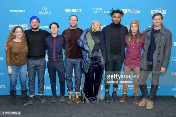 "Bill Karesh, Alex Hyner, Alex Theurer, Kiersey Clemons, Justin Dillard, and Stefan Duscio attend the ""Sweetheart"" Premiere during 2019 Sundance Film..."