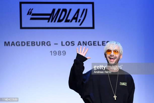 Bill Kaulitz acknowledges the applause of the audience after the MDLA by Bill Kaulitz fashion show during the AYFW About You Fashion Week at ewerk on...