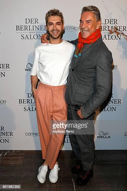 Bill Kaulitz and designer Wolfgang Joop attend the group presentation during the Der Berliner Mode Salon A/W 2017 at Kronprinzenpalais on January 18...